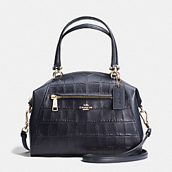 PRAIRIE SATCHEL IN CROC EMBOSSED LEATHER - f37737 - LIGHT GOLD/NAVY