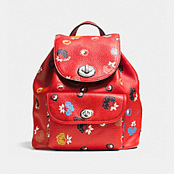 MINI TURNLOCK RUCKSACK IN FLORAL PRINT LEATHER - f37738 - SILVER/CARMINE/WILD PRAIRIE