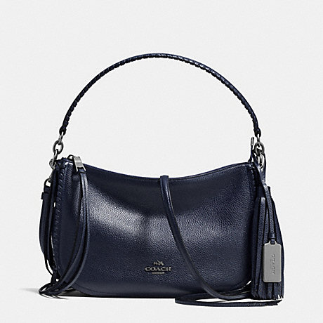 COACH FRINGE CHELSEA CROSSBODY IN PEBBLE LEATHER - DARK GUNMETAL/NAVY - f37740