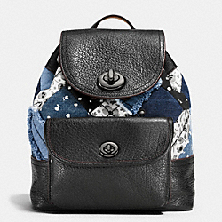 MINI TURNLOCK RUCKSACK IN CANYON QUILT DENIM - DARK GUNMETAL/DENIM SKULL PRINT - COACH F37743