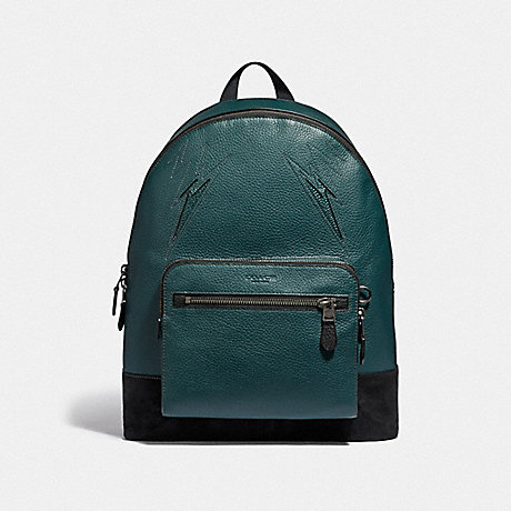 COACH WEST BACKPACK WITH CUT OUTS - FOREST/BLACK ANTIQUE NICKEL - F37752