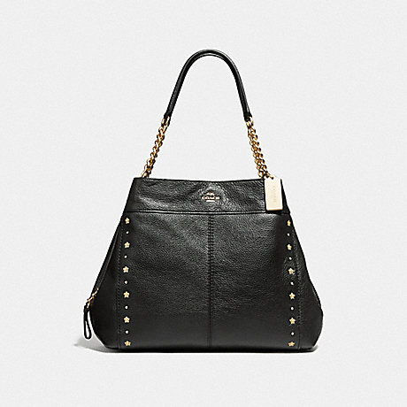 COACH LEXY CHAIN SHOULDER BAG WITH FLORAL RIVETS - BLACK/LIGHT GOLD - F37753