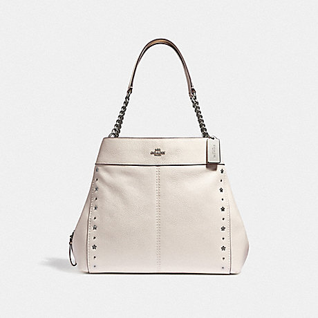 COACH LEXY CHAIN SHOULDER BAG WITH FLORAL RIVETS - CHALK/SILVER - F37753