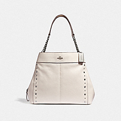 LEXY CHAIN SHOULDER BAG WITH FLORAL RIVETS - CHALK/SILVER - COACH F37753