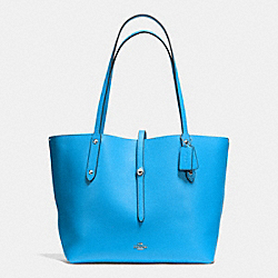 MARKET TOTE IN PEBBLE LEATHER - f37756 - SILVER/AZURE/BEECHWOOD