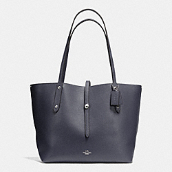 MARKET TOTE IN PEBBLE LEATHER - f37756 - SILVER/NAVY/AZURE