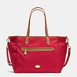 COACH SAWYER BABY BAG IN POLYESTER TWILL - IMITATION GOLD/CLASSIC RED - F37758