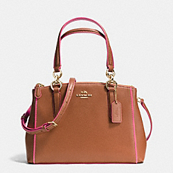 COACH MINI CHRISTIE CARRYALL IN EDGEPAINT CROSSGRAIN LEATHER - IMITATION GOLD/SADDLE/DAHLIA - F37762