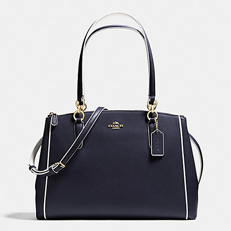 COACH CHRISTIE CARRYALL IN EDGEPAINT CROSSGRAIN LEATHER - IMITATION GOLD/MIDNIGHT/CHALK - f37764