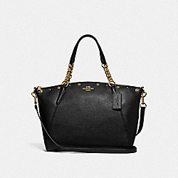 KELSEY CHAIN SATCHEL WITH FLORAL RIVETS - BLACK/LIGHT GOLD - COACH F37773