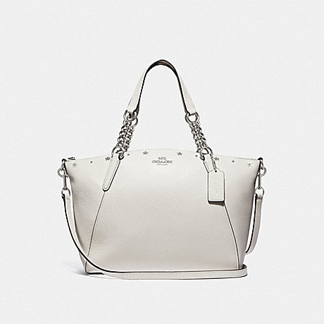 COACH KELSEY CHAIN SATCHEL WITH FLORAL RIVETS - CHALK/SILVER - F37773