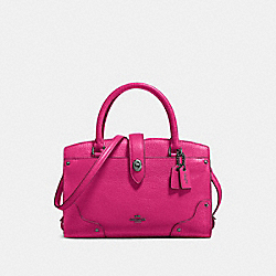 MERCER SATCHEL 24 IN GRAIN LEATHER - f37779 - DARK GUNMETAL/CERISE
