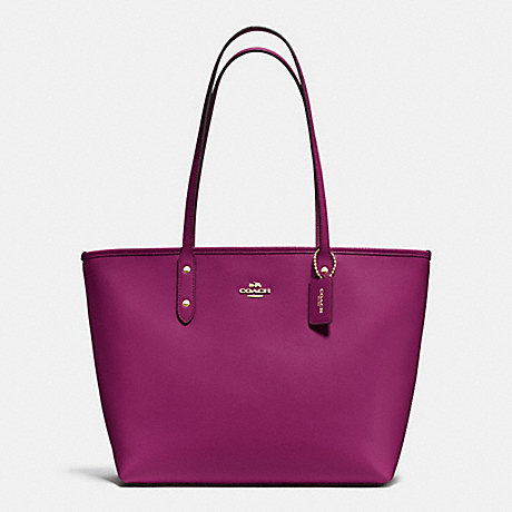 COACH CITY ZIP TOTE IN CROSSGRAIN LEATHER - IMITATION GOLD/FUCHSIA - f37785
