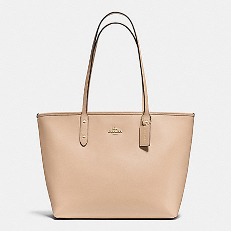 COACH f37785 CITY ZIP TOTE IN CROSSGRAIN LEATHER  IMITATION GOLD/NUDE