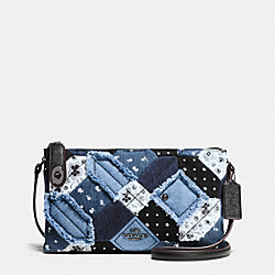 CROSBY CROSSBODY IN CANYON QUILT DENIM - f37790 - DARK GUNMETAL/DENIM SKULL PRINT