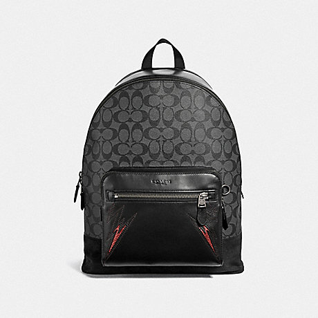 COACH WEST BACKPACK IN SIGNATURE CANVAS WITH CUT OUTS - CHARCOAL/BLACK/BLACK ANTIQUE NICKEL - F37801