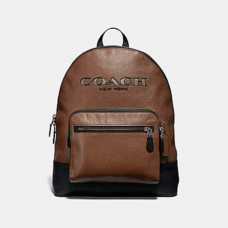 COACH WEST BACKPACK WITH COACH CUT OUT - SADDLE MULTI/BLACK ANTIQUE NICKEL - F37802