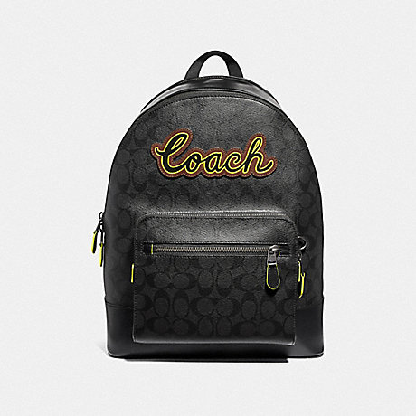 COACH WEST BACKPACK IN SIGNATURE CANVAS WITH COACH SCRIPT - BLACK/BLACK MULTI/BLACK ANTIQUE NICKEL - F37819