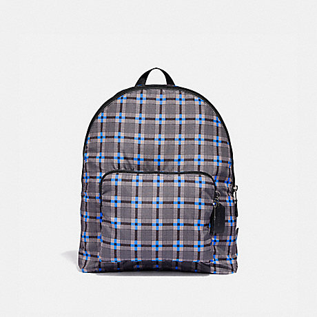 COACH PACKABLE BACKPACK WITH PLUS PLAID PRINT - GREY MULTI/BLACK ANTIQUE NICKEL - F37828