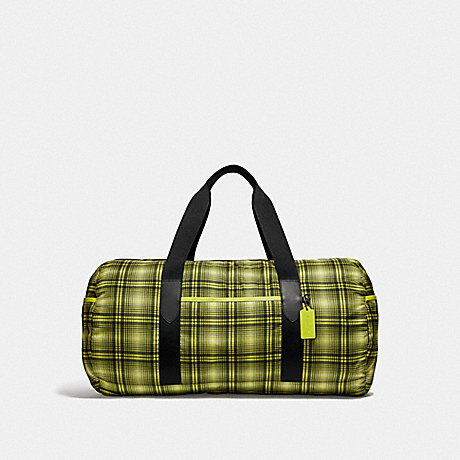 COACH PACKABLE DUFFLE WITH SOFT PLAID PRINT - NEON YELLOW MULTI/BLACK ANTIQUE NICKEL - F37829