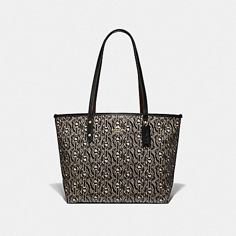 COACH CITY ZIP TOTE WITH CHAIN PRINT - BLACK/LIGHT GOLD - F37854