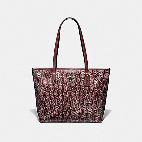 COACH CITY ZIP TOTE WITH CHAIN PRINT - CLARET/LIGHT GOLD - F37854
