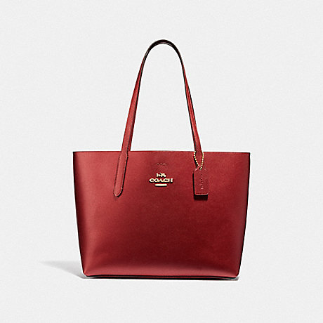 COACH AVENUE TOTE - METALLIC CURRANT/OXBLOOD 1/LIGHT GOLD - F37871