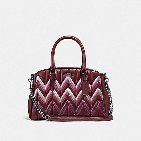 COACH MINI SAGE CARRYALL WITH QUILTING - WINE/MULTI/BLACK ANTIQUE NICKEL - F37872