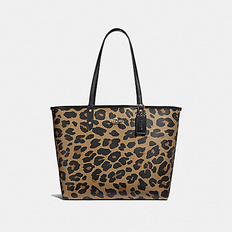 COACH REVERSIBLE CITY TOTE WITH LEOPARD PRINT - BLACK/NATURAL/LIGHT GOLD - F37877