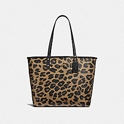 REVERSIBLE CITY TOTE WITH LEOPARD PRINT - BLACK/NATURAL/LIGHT GOLD - COACH F37877
