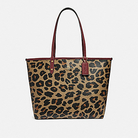 COACH REVERSIBLE CITY TOTE WITH LEOPARD PRINT - NATURAL/WINE/LIGHT GOLD - F37877