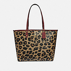 REVERSIBLE CITY TOTE WITH LEOPARD PRINT - NATURAL/WINE/LIGHT GOLD - COACH F37877