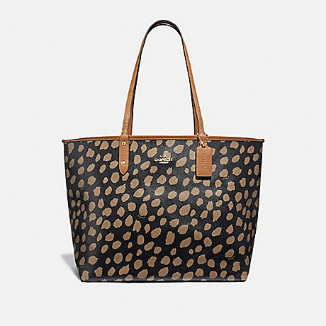 COACH REVERSIBLE CITY TOTE WITH DEER SPOT PRINT - BLACK/LT SADDLE/LIGHT GOLD - F37878