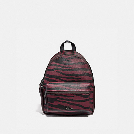 COACH MINI CHARLIE BACKPACK WITH TIGER PRINT - DARK RED/BLACK ANTIQUE NICKEL - F37880