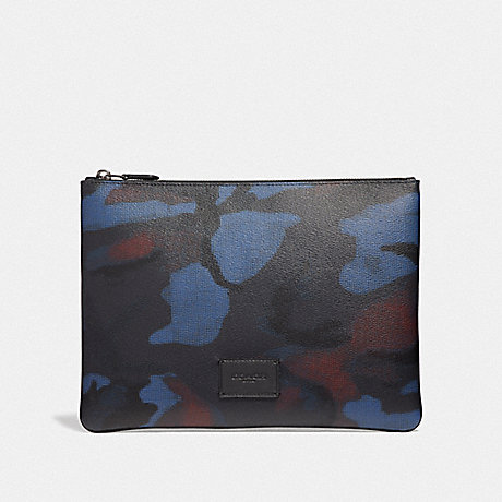 COACH LARGE POUCH WITH HALFTONE CAMO PRINT - BLUE MULTI/BLACK ANTIQUE NICKEL - F37881