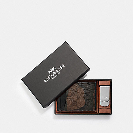 COACH BOXED 3-IN-1 CARD CASE GIFT SET IN SIGNATURE CANVAS WITH HALFTONE CAMO PRINT - GREEN MULTI/NICKEL - F37882