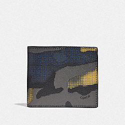 3-IN-1 WALLET WITH HALFTONE CAMO PRINT - GREY MULTI/BLACK ANTIQUE NICKEL - COACH F37891