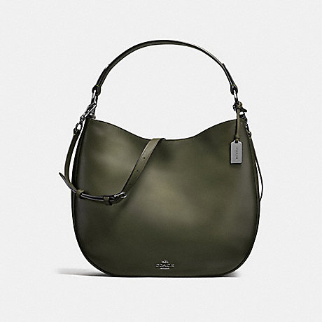 COACH COACH NOMAD HOBO IN BURNISHED GLOVETANNED LEATHER - DARK GUNMETAL/SURPLUS - f37905