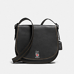 MICKEY SADDLE IN GLOVETANNED LEATHER - f37931 - DARK GUNMETAL/BLACK