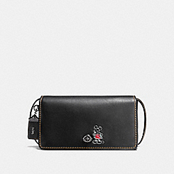 MICKEY DINKY IN GLOVETANNED LEATHER - f37932 - DARK GUNMETAL/BLACK