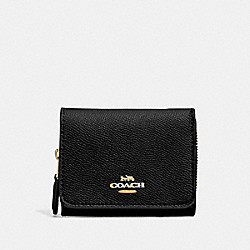 SMALL TRIFOLD WALLET - BLACK/LIGHT GOLD - COACH F37968