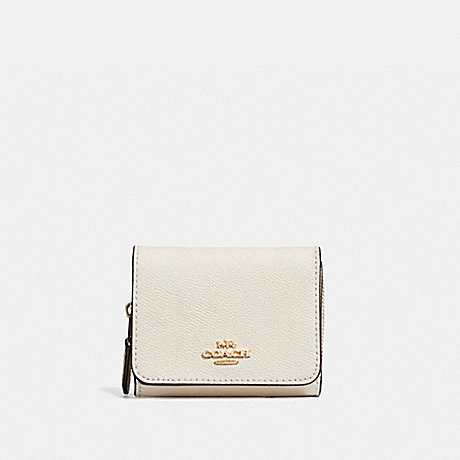 COACH SMALL TRIFOLD WALLET - CHALK/LIGHT GOLD - F37968