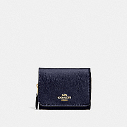 SMALL TRIFOLD WALLET - MIDNIGHT/LIGHT GOLD - COACH F37968