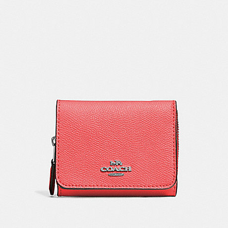 COACH SMALL TRIFOLD WALLET - CORAL/SILVER - F37968