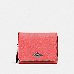 SMALL TRIFOLD WALLET - CORAL/SILVER - COACH F37968