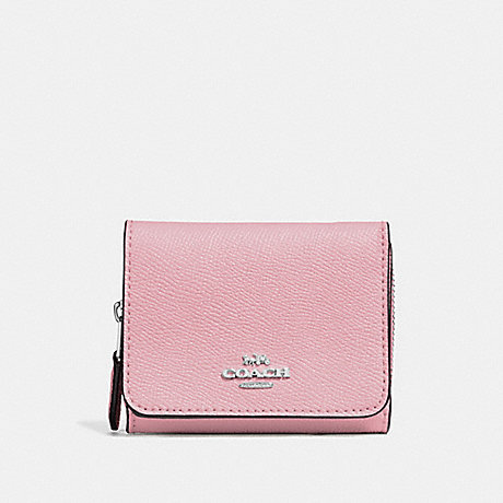 COACH SMALL TRIFOLD WALLET - CARNATION/SILVER - F37968