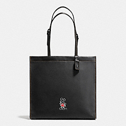 MICKEY SKINNY TOTE IN GLOVETANNED LEATHER - f37981 - DARK GUNMETAL/BLACK