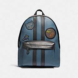 CHARLES BACKPACK WITH WIZARD OF OZ PATCHES - DENIM/ BLACK/ DENIM/BLACK ANTIQUE NICKEL - COACH F37986