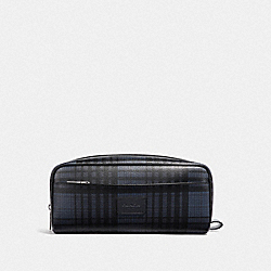DOPP KIT WITH TWILL PLAID PRINT - MIDNIGHT NAVY MULTI/BLACK ANTIQUE NICKEL - COACH F37988