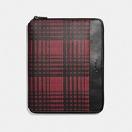 COACH TECH CASE WITH TWILL PLAID PRINT - RED MULTI/BLACK ANTIQUE NICKEL - F37989